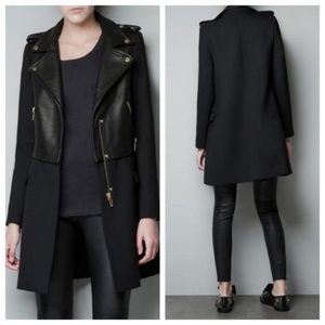 Zara Basic Real Leather Black Moto Biker Jacket